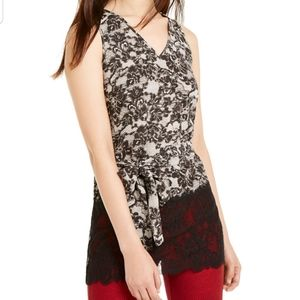 NWT MICHAEL Michael Kors  Lace Trimmed TOP MED